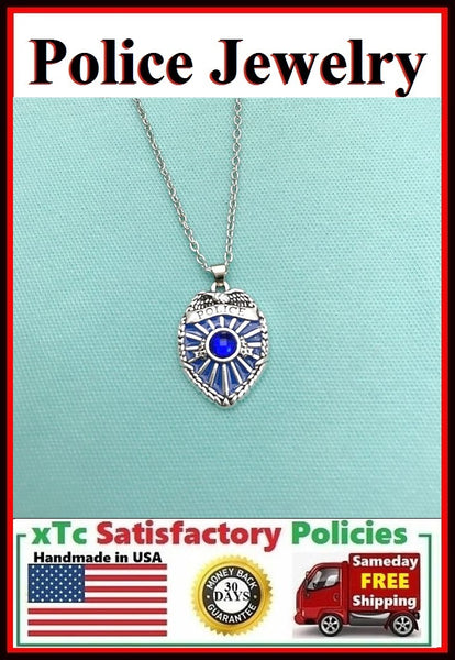 POLICE BADGE with Blue Gem Silver Necklace