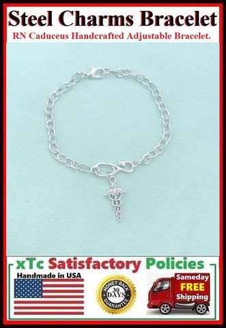 Handmade Caduceus Adjustable Stainless Steel Bracelet.