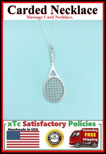 Tennis Player Gift; Handcrafted Silver Tennis Necklace.