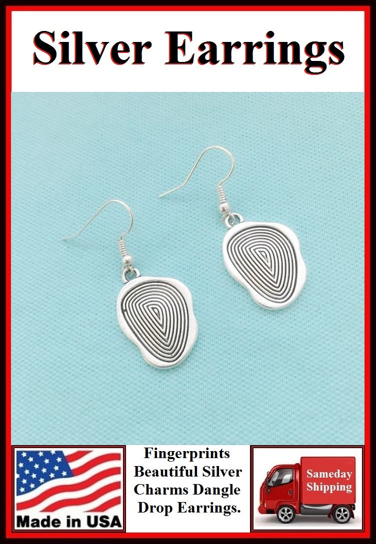 Police Earrings; Fingerprint Charms Dangle earrings.