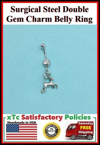 Surgical Steel Double Gems Belly Ring with Dear Charm.