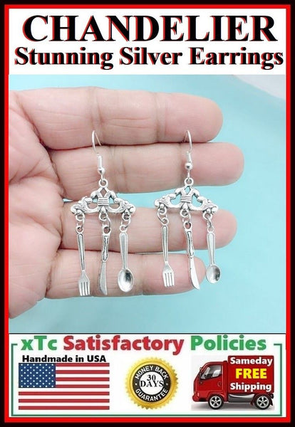 Stunning CHANDELIER Silver Fork & Spoon Dangle Earrings. For Mom Cook Chef.