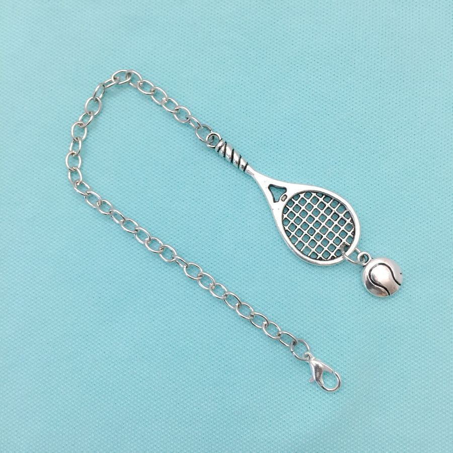 Handcrafted Tennis Racket & Ball Silver Charms Steel Bracelet.
