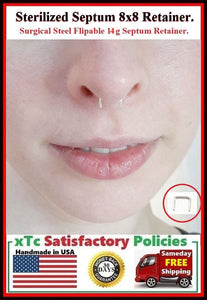 8X8mm 14g Sterilized Surgical Steel Septum Retainer.