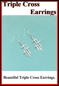Triple Cross Silver Charms Dangle earrings.