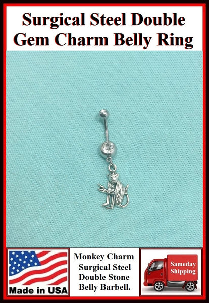 MONKEY PLAYING Silver Charm Surgical Steel Belly Ring.