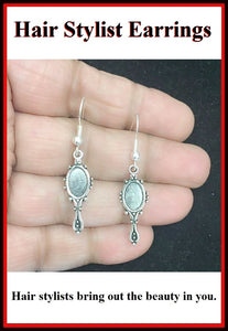 Hair Stylist Handcraft Hand Mirror Charm Dangle Earrings.