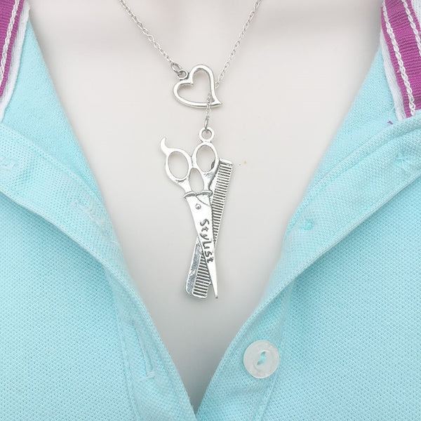 I Love Being Stylist Silver Lariat Y Necklace.