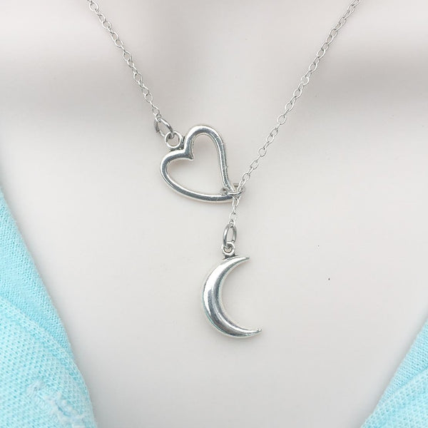 I Love Crescent Moon Silver Lariat Y Necklace.