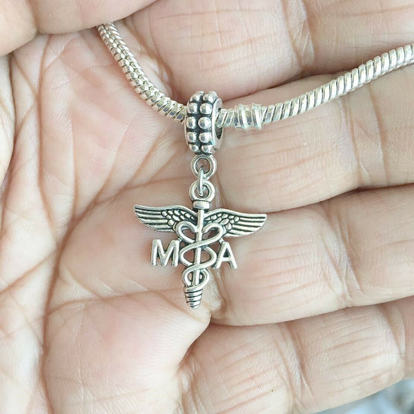MA Medical Assistant Caduceus Silver Bead For Charm Bracelets