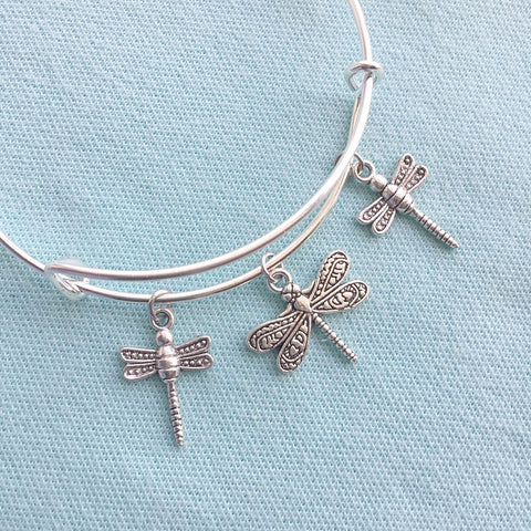 I Love Gilmore Girls; Dragonfly Silver Adjustable Bangle Bracelet.
