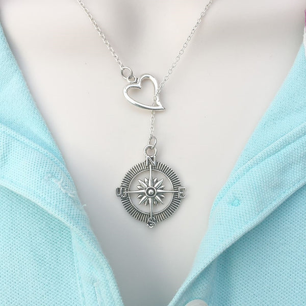 Wonderlust Compass Silver Lariat Y Necklace.