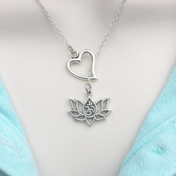 Love Lotus w OM Handcrafted Silver Lotus Lariat Y Necklace.