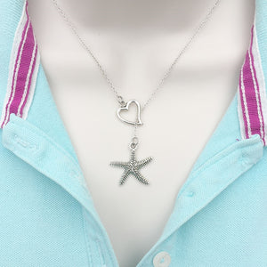 Star Fish Charm Silver Lariat Y Necklace.