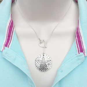 Sand Dollar Charm Silver Lariat Y Necklace.