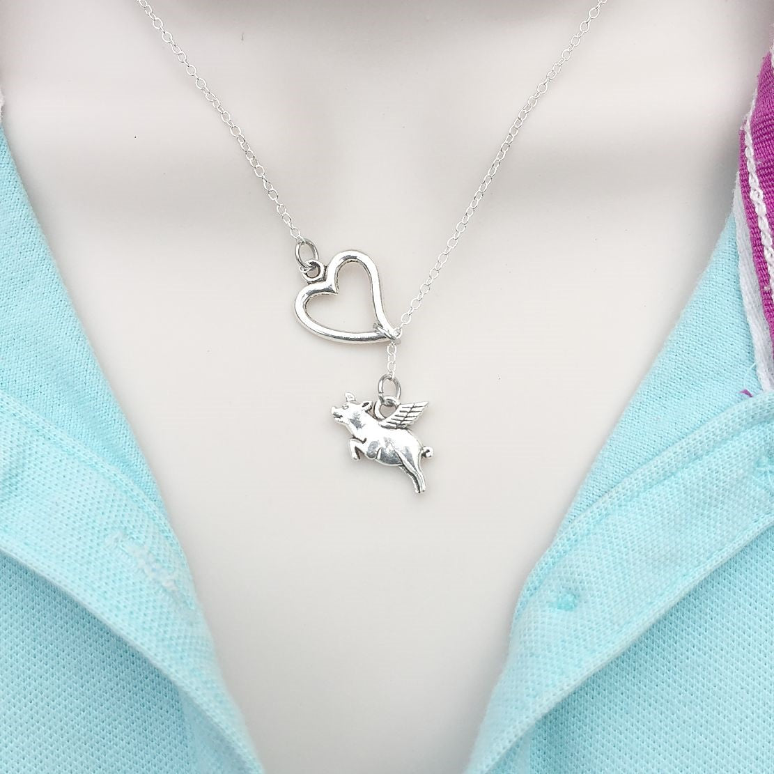 When Pigs Fly Charm Silver Lariat Y Necklace.