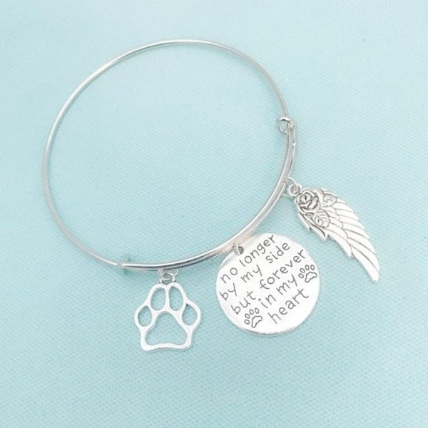 Animal Lovers: Stunning Dog Memorial Charms Expendable Bangle.
