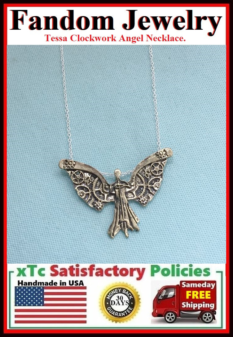 City of Bones inspiration Tessa Clockwork Angel Necklace.