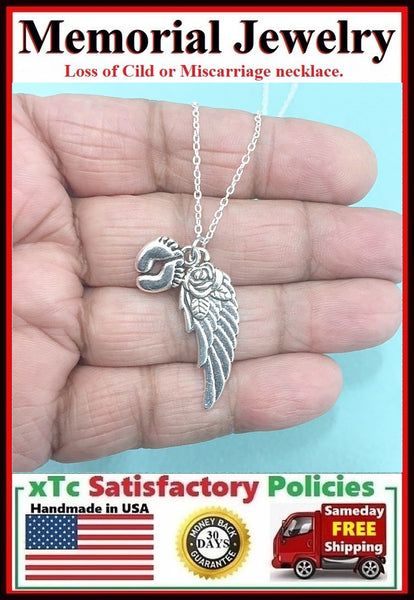 Miscarriage OR Loss Child Memorial Charms Necklace.