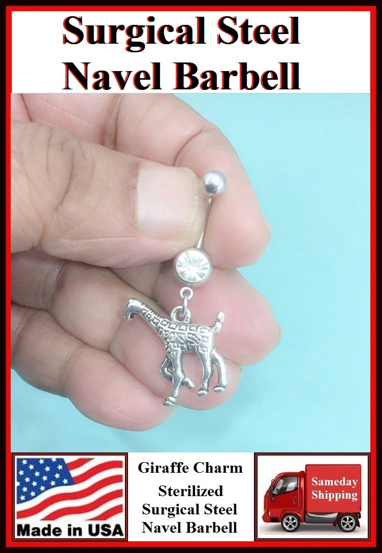 Beautiful Giraffe Silver Charm Surgical Steel Belly Ring.