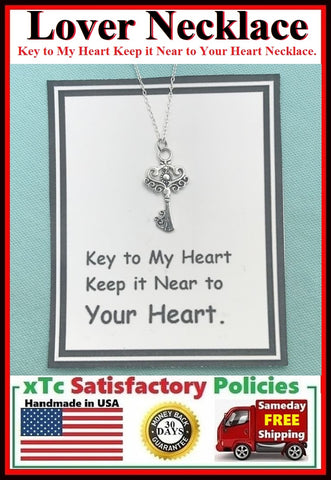 """Key to MY HEART keep it NEAR to YOUR HEART"" Necklace."