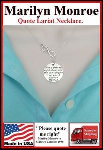 Marilyn Monroe Quote Handcrafted Necklace Lariat Style