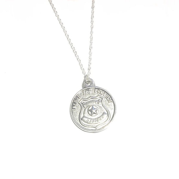 Saint Michael Protect and Serve Silver Tone Charm Necklace.