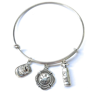 Handmade Firefighter Charms Bangle.