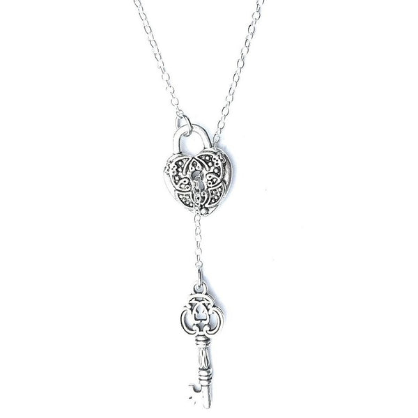 Antique LOCK with KEY Necklace Lariat Style.
