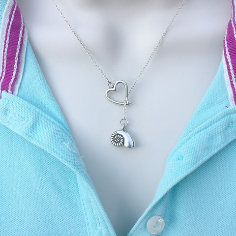 Ariel Voice Seashell Silver Lariat Y Necklace.