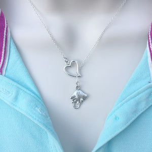 Sea Flap Flap Stingray Silver Lariat Y Necklace.