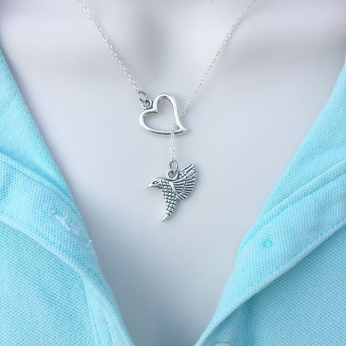 Beautiful Hummingbird Silver Lariat Y Necklace.
