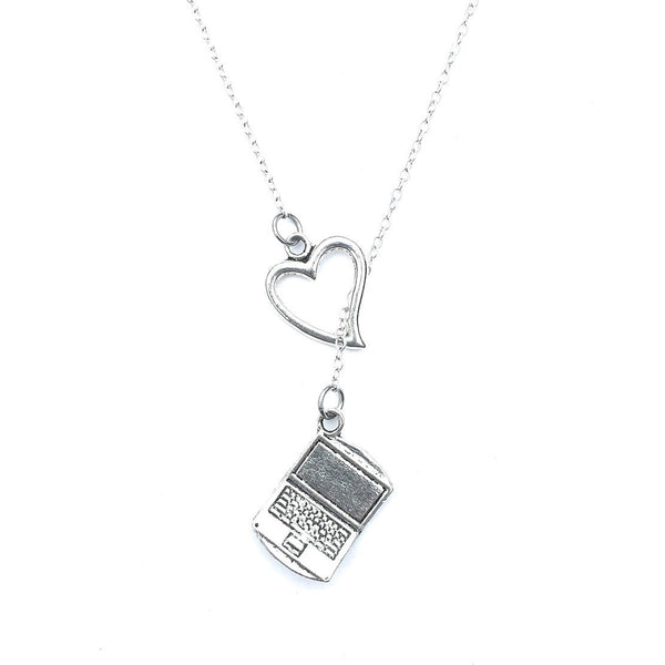 Love Being ONLINE Handcrafted Silver Laptop Lariat Y Necklace.