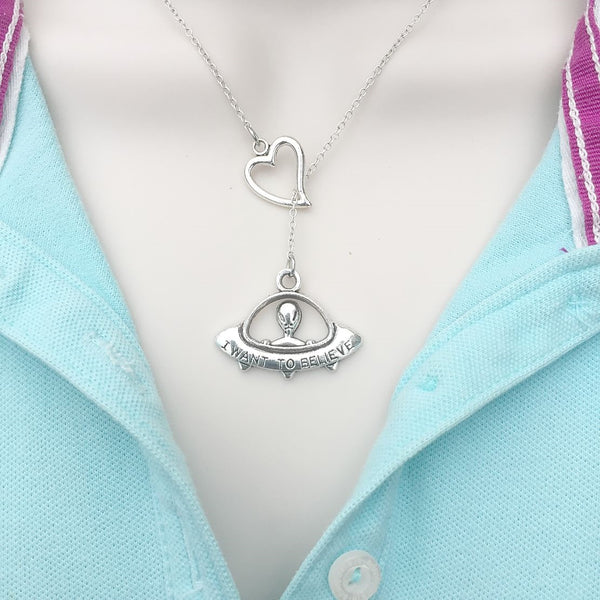 Alien in UFO Silver Lariat Y Necklace.