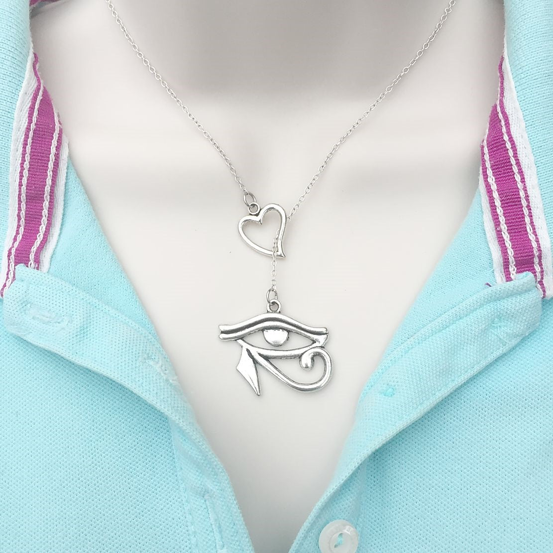 Eye Of Horus Silver Lariat Y Necklace.