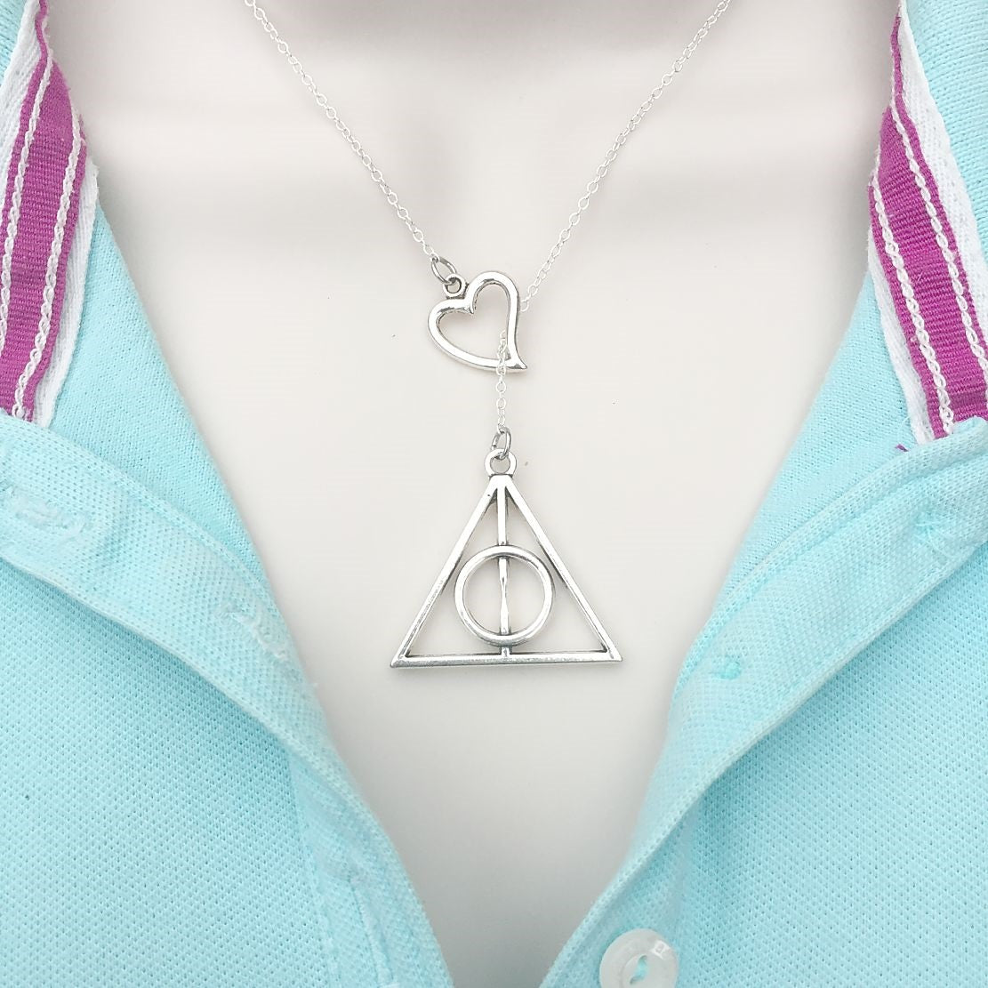Deathly Hallow Silver Lariat Y Necklace.
