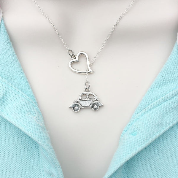 I Love VW Beetle BUG Car Silver Lariat Y Necklace