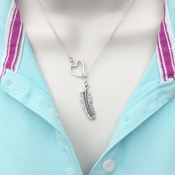 I Love Freedom Like Feather Silver Lariat Y Necklace.