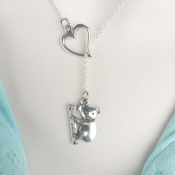 I Love Koala Bear Silver Lariat Y Necklace.