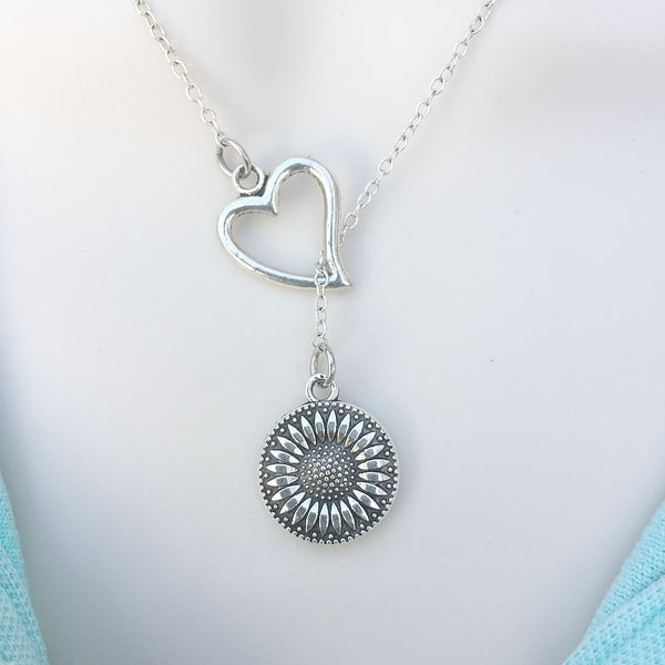 I Love Sunflower Silver Lariat Y Necklace.