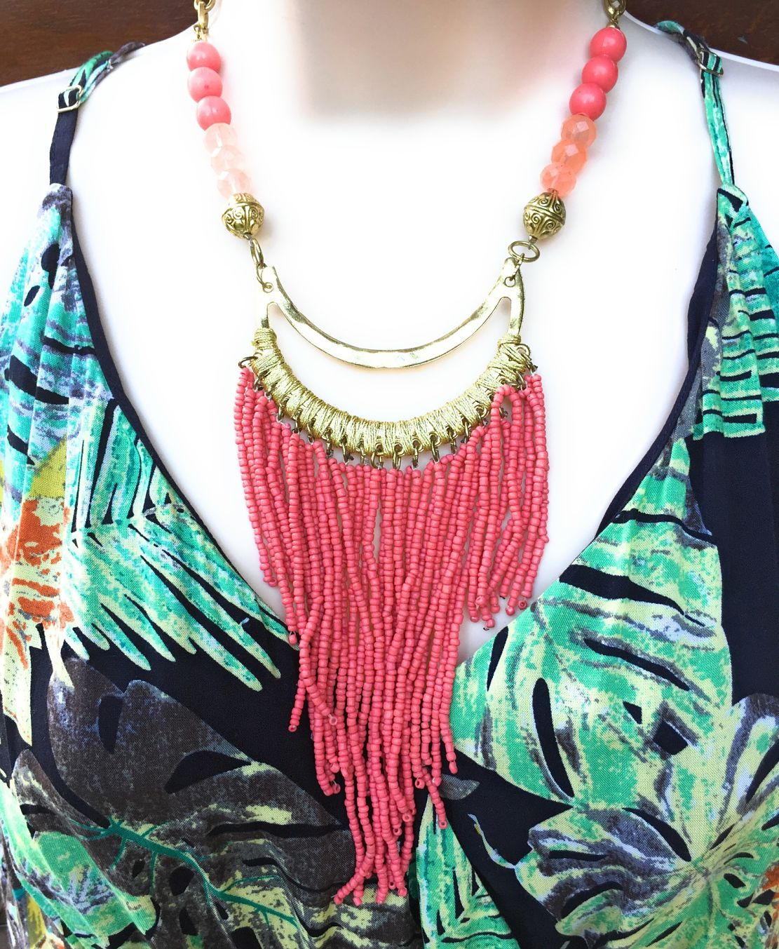 BeautifulCoral Color Multiple Bead Stings Statement Necklace.