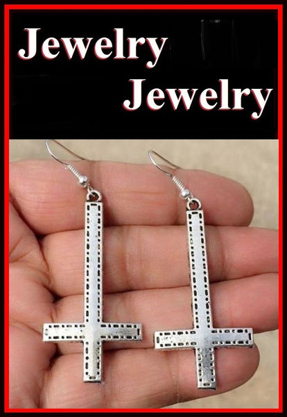 "Silver 2"" DESIGNER Satanic Upside Down Cross Earrings."