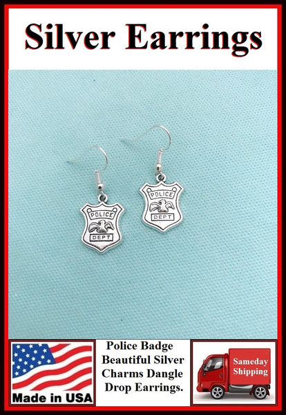 Police Badge Charm Silver Dangle Earrings.