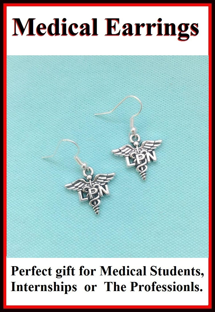 Medical Earring; License Practical Nurse Charms Dangle earrings.