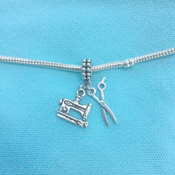 "Seamstress Tailor ""SEWING MACHINE n SCISSORS"" Silver Bead For Charm Bracelets"