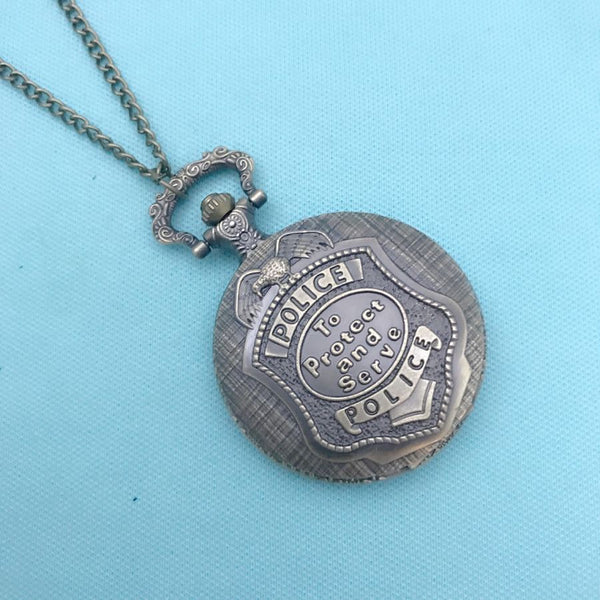 "Police Logo Bronze Locket Quartz Watch 30"" Necklace."