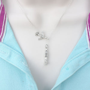 Going to UK, Big Ben Silver Lariat Y Necklace.