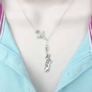 Going to NY, Statue of Liberty Silver Lariat Y Necklace.