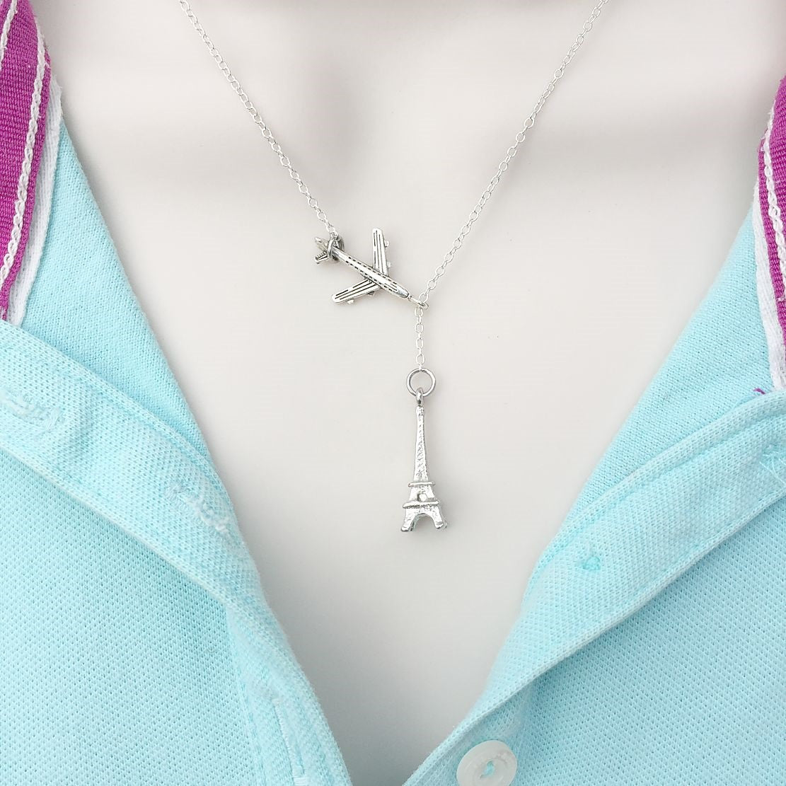 Going to PARIS, Eiffel Tower Silver Lariat Y Necklace.