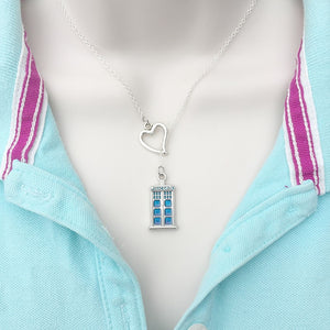 I Love Dr. Who TARDIS Silver Lariat Y Necklace.
